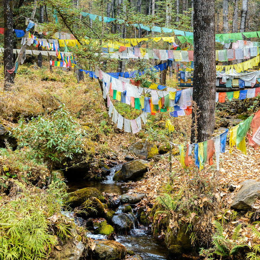 Chudar water prayer flags, Taktshang, Bhutan - Photo: Jens Kirkeby